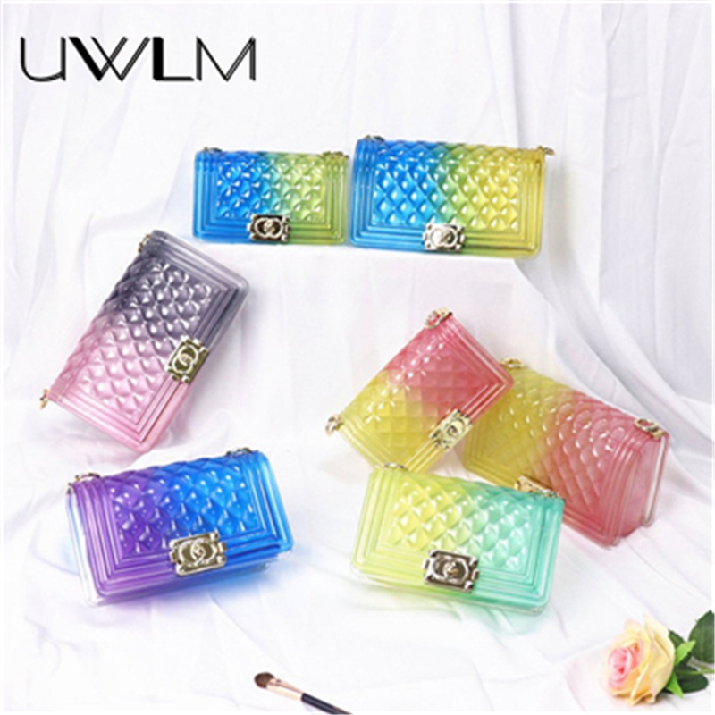colorful Channel handbags PVC jelly shoulder Crossbody bags for women 2019 Summer candy colored luxury Chain bags Messenger Bagscolorful Channel handbags PVC jelly shoulder Crossbody bags for women 2019 Summer candy colored luxury Chain bags Messenger Bags