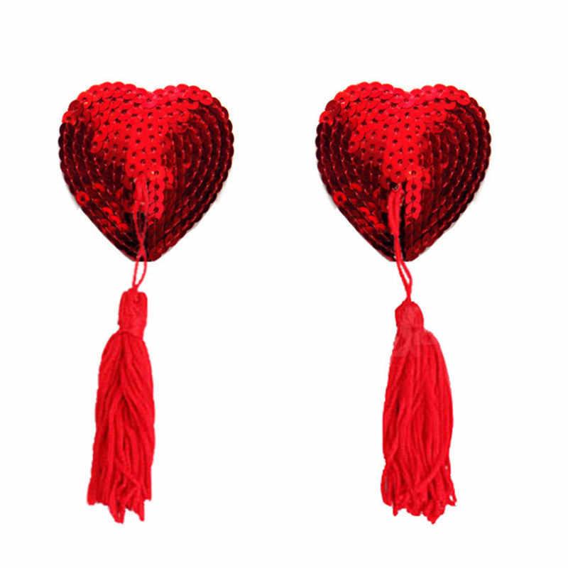 Pair of Heart Nipple Tassels Tassles Bra Pasties Self Adhesive Breast Covers