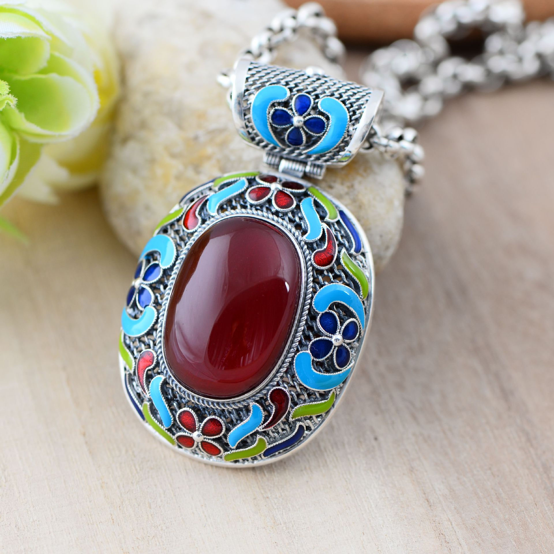 Bijoux en argent noir en gros 925 bijoux en argent sterling inséré fil émail fleur Hong Gangyu 047334 w
