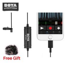 Mais novo BY-DM1 BOYA Microfone De Lapela Microfone Clip-on w IOS Interface Plug para iPhone X 8 7 Plus iPad Mini Pro Air 4 2 2 iPOD TOUCH
