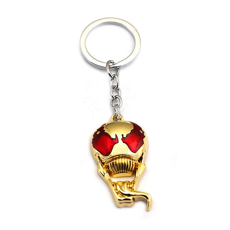Homem aranha Veneno Superhero Black Metal Eddie Brock Edward figura Chaveiro chaveiro Chave Anel de presente brinquedo thanos chave Do Crânio Dos Homens cadeias