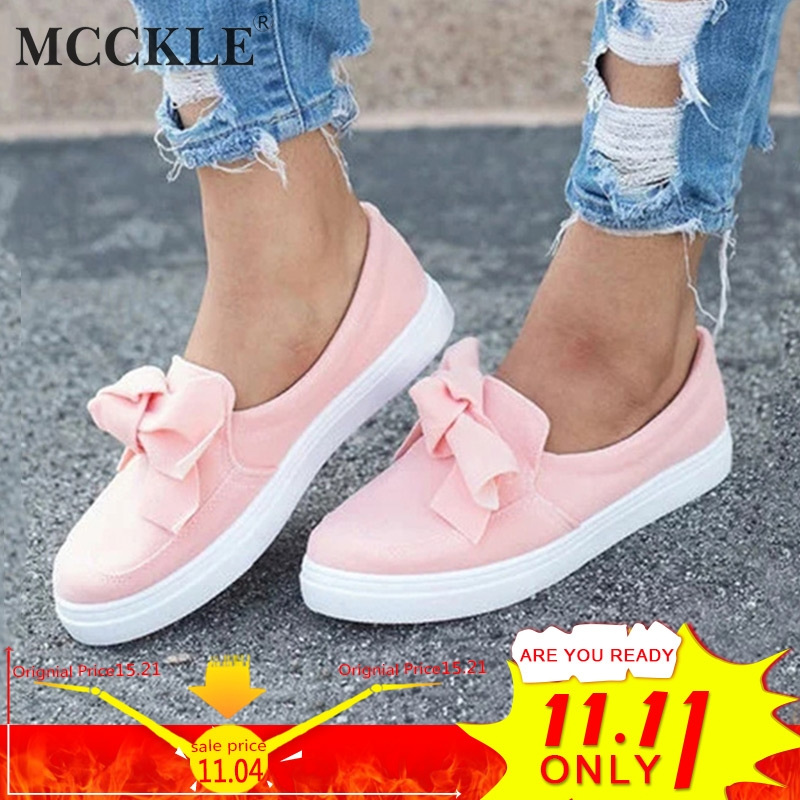 MCCKLE Women Loafers Plus Size Platform Slip On Bowtie Flat Shoes Sewing Casual Bowknot Shoe For Female Flock Moccasins Footwear women flat shoes new spring female casual women shoes slip on flat leisure bowtie bowknot ladies trend fashion shoes size 35 39