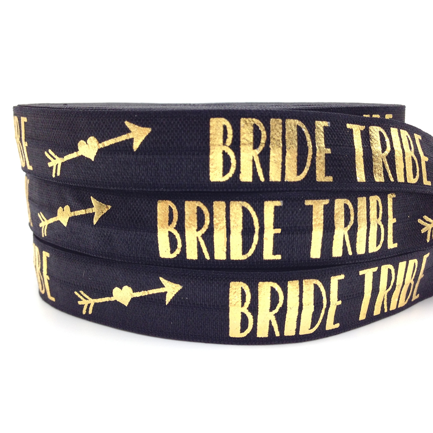 10 yards /lot Gold Foil Bride Tribe Print Fold Over Elastic Black 5/8 FOE Elastic Ribbon for DIY Hair Supplies Hair Accessories 00009 red gold bride wedding hair tiaras ancient chinese empress hair piece