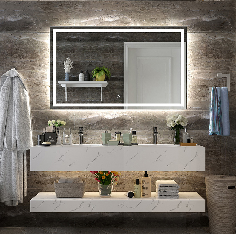 Diyhd Wall Mount Led Lighted Bathroom Mirror Vanity Defogger Square Lights Touch Light Mirror