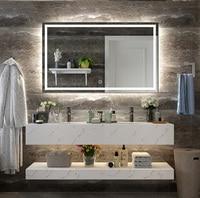 DIYHD Wall Mount Led Lighted Bathroom Mirror Vanity Defogger Square Lights Touch Light Mirror