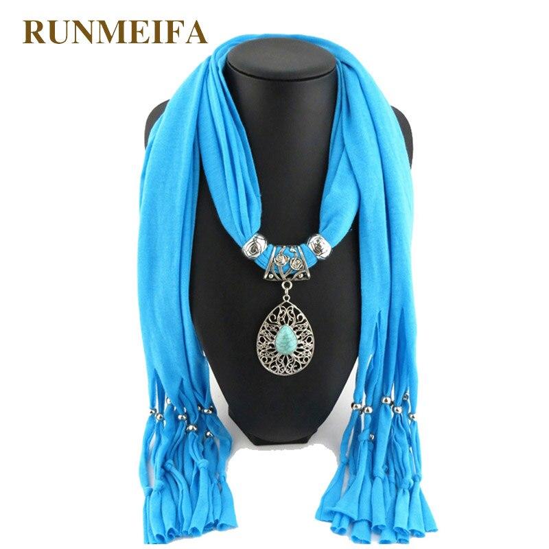 RUNMEIFA European Fashion Droplet Turquoise Necklace Scarves Women All Match Vintage Tassel Shawl Ladies Stone Pendant Scarves