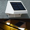 Solar Power Panel 4 LED Fence Gutter Warm White Light Outdoor Garden Wall Lobby Pathway Lamp