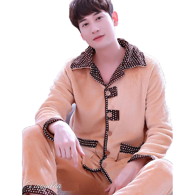Men's Sleepwear Winter Thick Coral Fleece Pajamas Sets Sleep & Lounge Long Sleeve Male Nightgown Pyjama Homme Home Wear Men