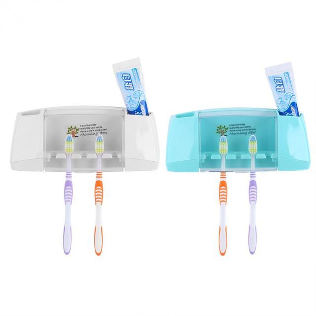 Akcesoria łazienkowe uchwyt na szczoteczki do zębów ssania ściany z tworzywa sztucznego szczoteczka do zębów organizator pudełko do przechowywania przypadku z odporną na kurz pokrywa stojak