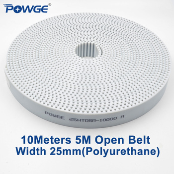 POWGE 10Meters PU White HTD 5M Open Synchronous belt 5M-25mm Width 25mm Polyurethane steel Arc Tooth 25HTD5M Timing Belt pulley