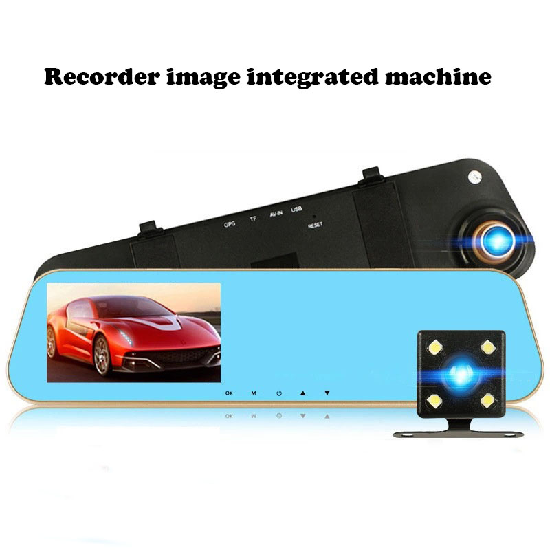 4.3 Dash Camera Car DVR High Definition Driving Recorder Double Recording and Parking Monitoring Before After 1080P Blue Mirror