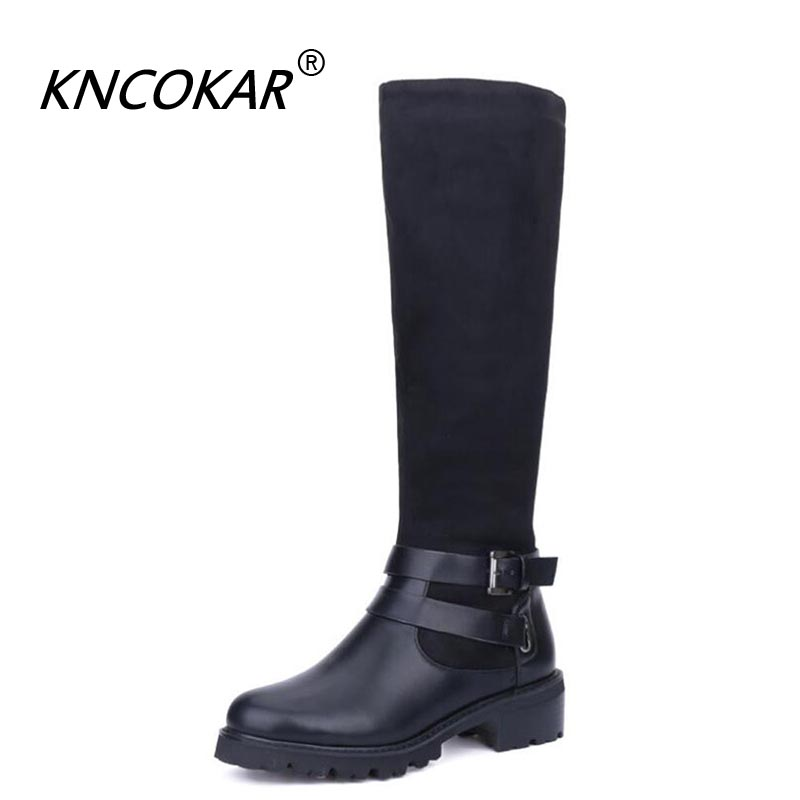 KNCOKAR  Winter Shoes Knee High Boots Big Size High  Quality Leather Brand  Shoes Wool And Plush Women Winter Round head BootsKNCOKAR  Winter Shoes Knee High Boots Big Size High  Quality Leather Brand  Shoes Wool And Plush Women Winter Round head Boots