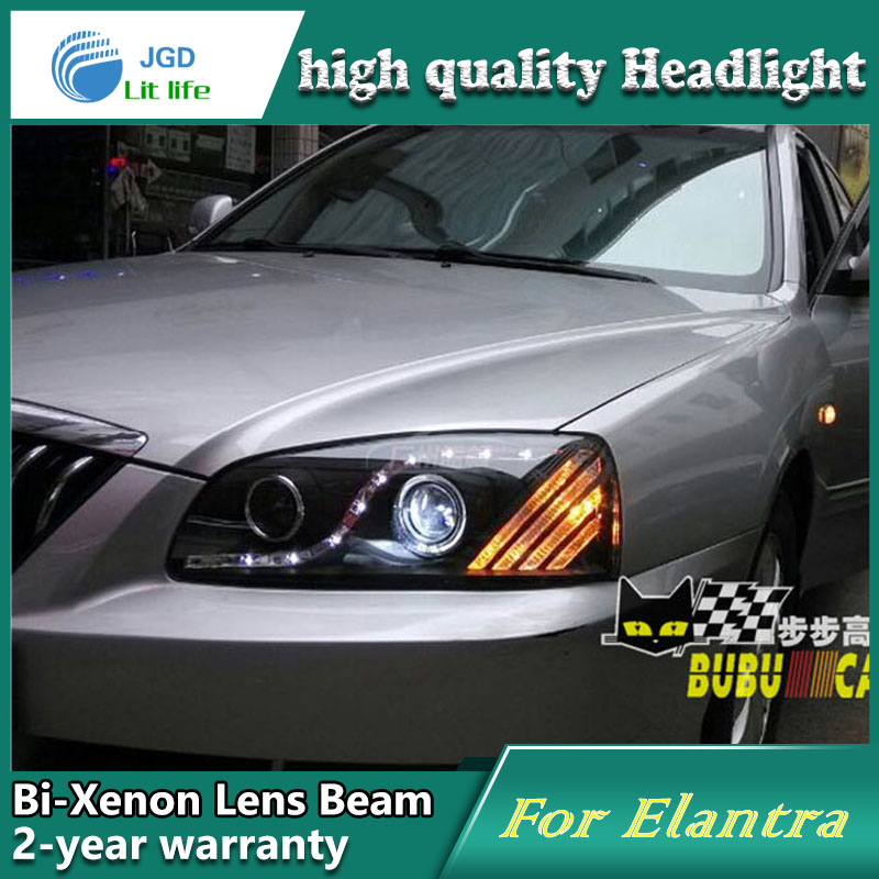 Car Styling Head Lamp case for Hyundai Elantra 2004-2010 Headlights LED Headlight DRL Lens Double Beam Bi-Xenon HID Accessories hireno headlamp for 2004 10 hyundai elantra headlight headlight assembly led drl angel lens double beam hid xenon 2pcs