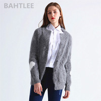 BAHTLEE 2018 winter women's angora rabbit cardigans knitting sweater looser casual heart pattern turn down collar keep warm