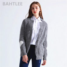 BAHTLEE autumn winter women's angora Jumper cardigans knitting sweater looser casual heart pattern turn down collar keep warm(China)