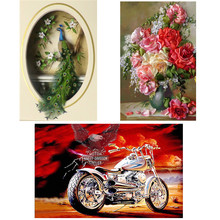 5D DIY diamond painting motorcycle landscape cross stitch flower full round rhinestone love gift
