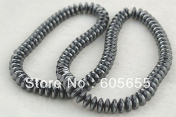 Grade AA Hematite 3x8mm Flying Saucer Rondelle Spacer Loose Beads 10 Strands Per Lot Free Shipping