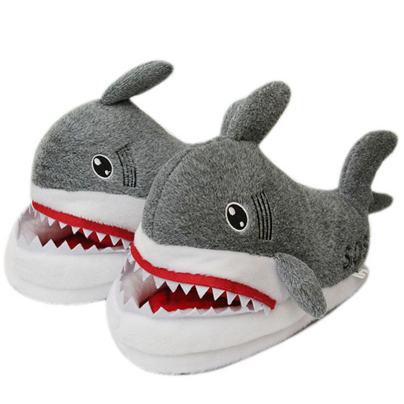 LIN KING Winter Animal Funny Shoes For Men and Women Warm Unisex Home House Indoor Floor Slippers Shark Shape Furry Shallow Shoe in Slippers from Shoes