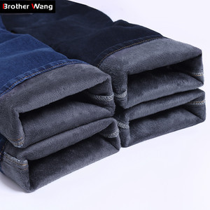 Image 1 - Big Plus Size Men Warm Jeans 2020 Winter New Fashion Casual High Quality Fleece Elastic Straight Thick Trousers Jeans Male Brand