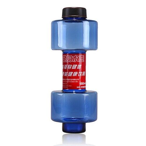 550ml Dumbbell font b Fitness b font Equipment Shape Kettle Juice Bottle Sport Water Bottles Blue