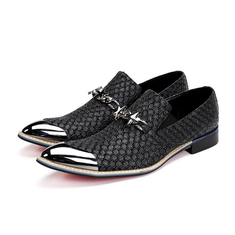 Free Shipping 2019 new style Genuine Leather Loafers Men leather shoes Men s Flats Men Metal