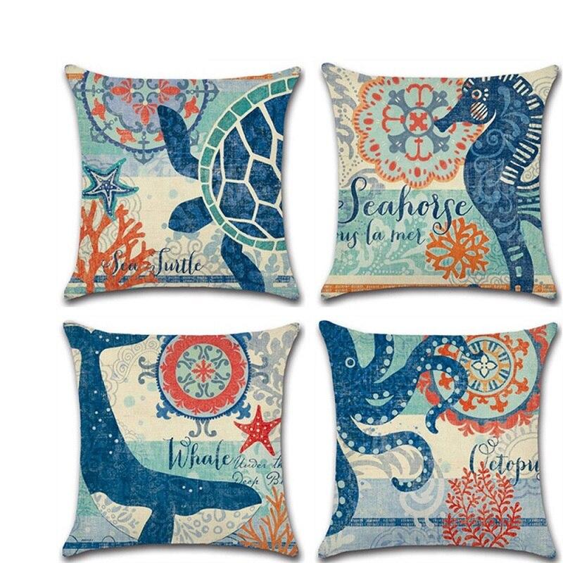 2019 New Marine Life Sea Turtle Seahorse Prints Cushion Cover Home Decorative Octopus Pillowcase Sofa Pillow Cover Funda Cojin in Cushion Cover from Home Garden