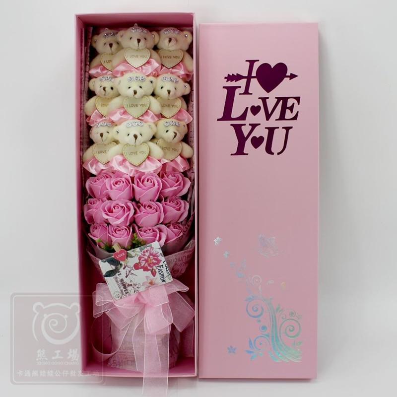 21 pièces/boîte 9 pièces Kawaii En Peluche Ours Jouets 12 pièces Rose Savon Fleur Romantique Dessin Animé Jouets Bouquet pour la Saint-Valentin Petite Amie Cadeaux