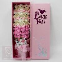 21pcs/Box 9pcs Kawaii Plush Bear Toys 12pcs Rose Soap Flower Romantic Cartoon Toys Bouquet for Valentine'S Day Girlfriend Gifts