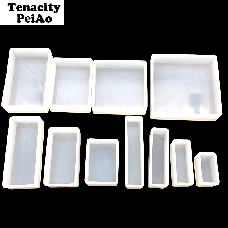 Transparent Rectangle Diy Dry Flower Silicone Mold Uv Resin Mold For Pendant Jewelry Making Tools