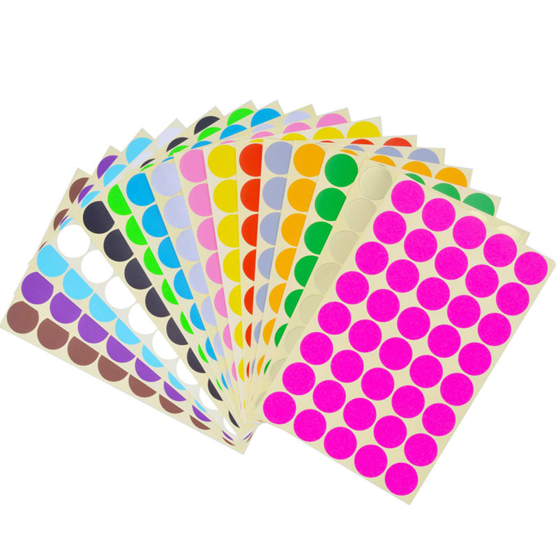Color 19mm Cute Circles Round Code Stickers Scrapbooking Self Adhesive Sticky Labels