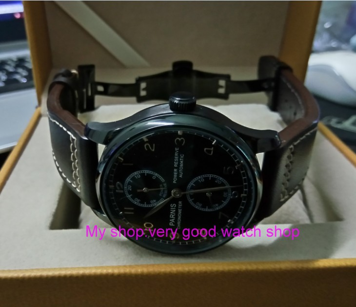 купить butterfly buckle 43mm PARNIS pilot power reserve Automatic Self-Wind Mechanical movement men's watch PVD case zdgd93a по цене 5134.23 рублей