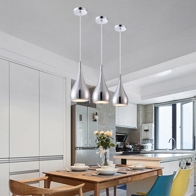 Barre pendentif éclairage argent moderne pendentif lumières cuisine île lumière étude chambre maison pendentif chambre plafonnier inclure ampoule|Lampes à suspension| |  -