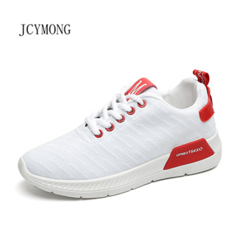 JCYMONG 2018 Sprig Breathable Air Mesh Women Sneakers Shoes Fashion White Pink cotton fabric wedges sneakers female shoes