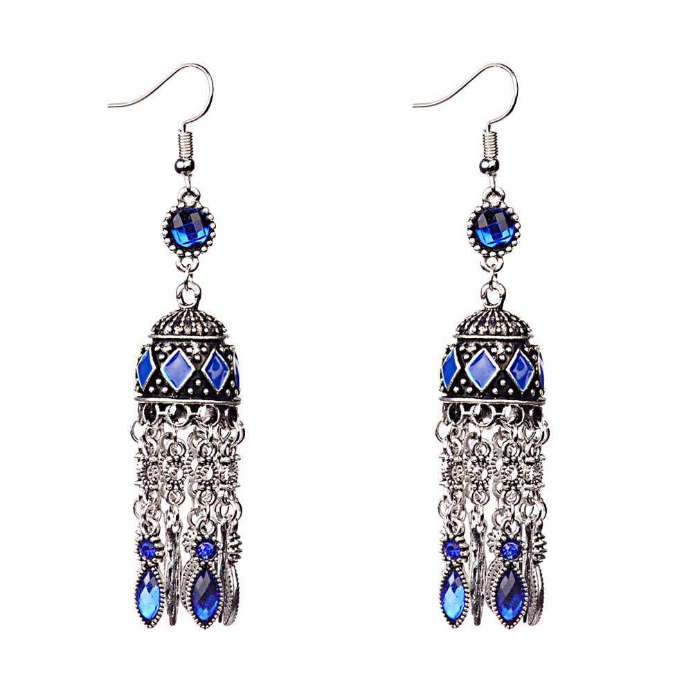 Vintage Bohemian Long Tassel Earrings Women Jewelry Rhinestone Boho Charm Long Hook Earrings Dangle Earrings Women Jewelry Gift