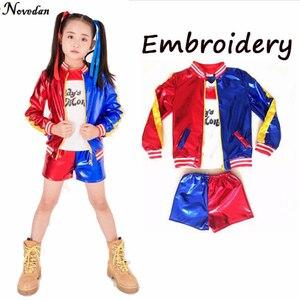 Image 5 - Girls Kids Joker Suicide Squad Harley Quinn Jacket Shorts Shirt Set Children Harley Quin Purim Halloween Cosplay Costume Suit