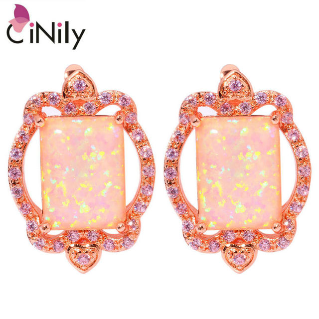 c5bbf86f6 CiNily Created Pink Fire Opal Pink Zircon Rose Gold Color Wholesale Hot  Sell Fashion for Women Jewelry Hoop Earrings 1