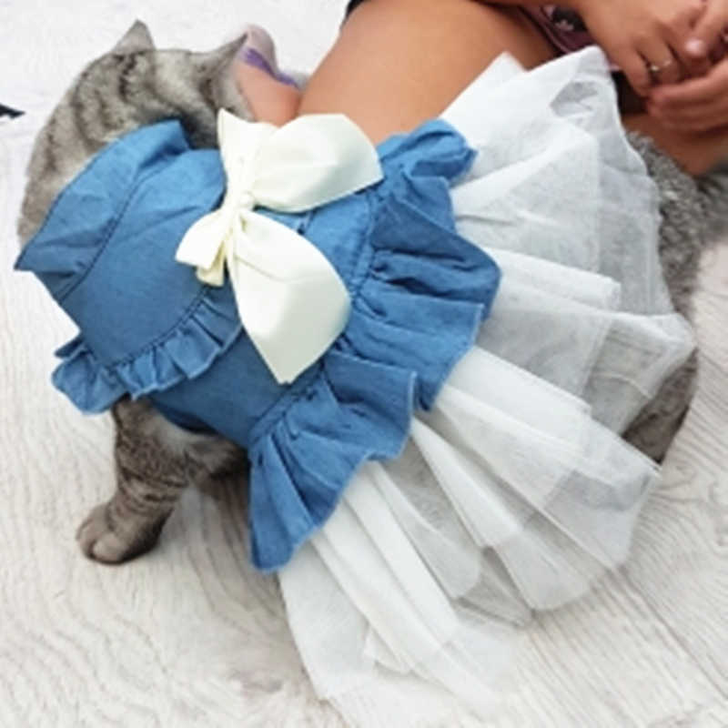 Frühling Sommer Denim Katze Kleidung für Katzen Mode Katze Mantel Jacke Warme Outfits Schöne Haustier Katze Kleidung 11a30Q