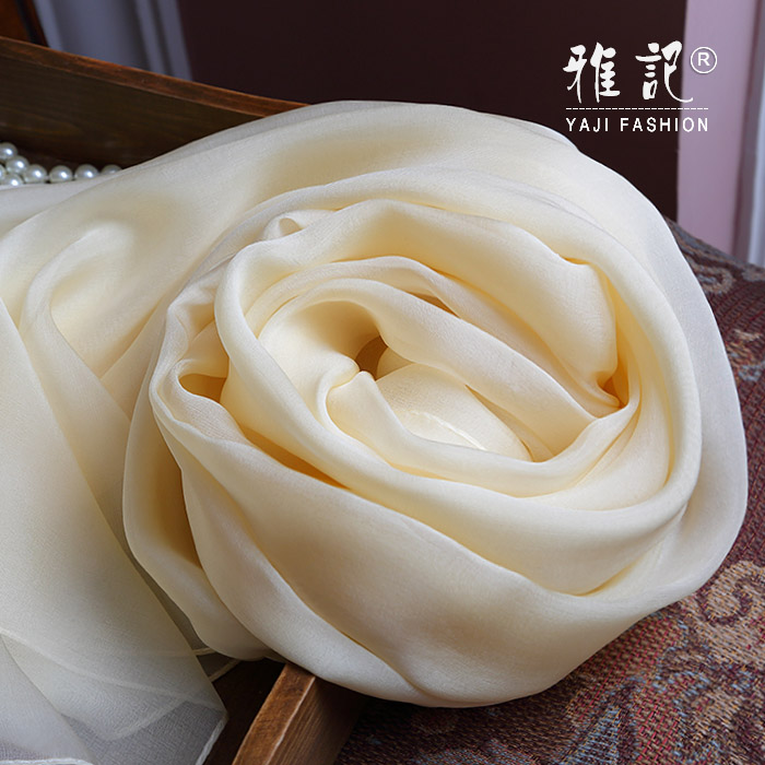 Genuine Silk Women Scarf 2017 Summer Autumn Winter High Quality Shawl 200 * 65 cm Fashion Beige White Solid Color Scarves