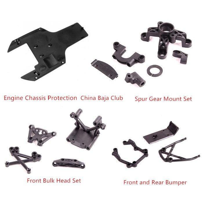 Spur Gear motor Proteção Chassis Mount Set Frente Bulk Head Set Dianteira e Traseira Bumper para 1/5 HPI Baja Rovan 5B 5T 5SC