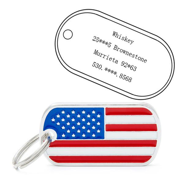 Dog Tag American Flag Pattern Puppy ID Tag Pendant Pet Supplies Zinc Alloy Popular pet dog accessories RT99