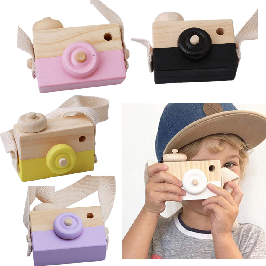Kids Cute Mini Wood Camera Toys Camera Photography Decoration Baby Children Clothing Accessory Toys Birthday Christmas Gifts