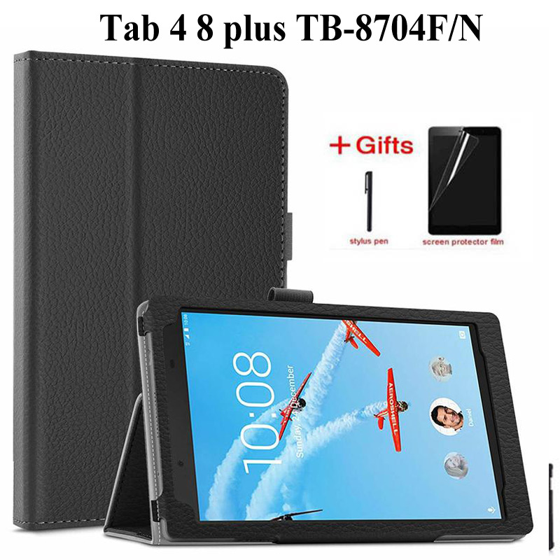 Litchi Flip PU Leather Case For <font><b>Lenovo</b></font> tab 4 8 plus TB-8704F/N Funda stand cover for <font><b>lenovo</b></font> tab 4 8 plus TB-<font><b>8704</b></font> Tablet case image