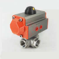 4 NPT DN100 Stainless Steel 304 Three way T port Pneumatic Ball Valve PTFE Seal Water Air Oil