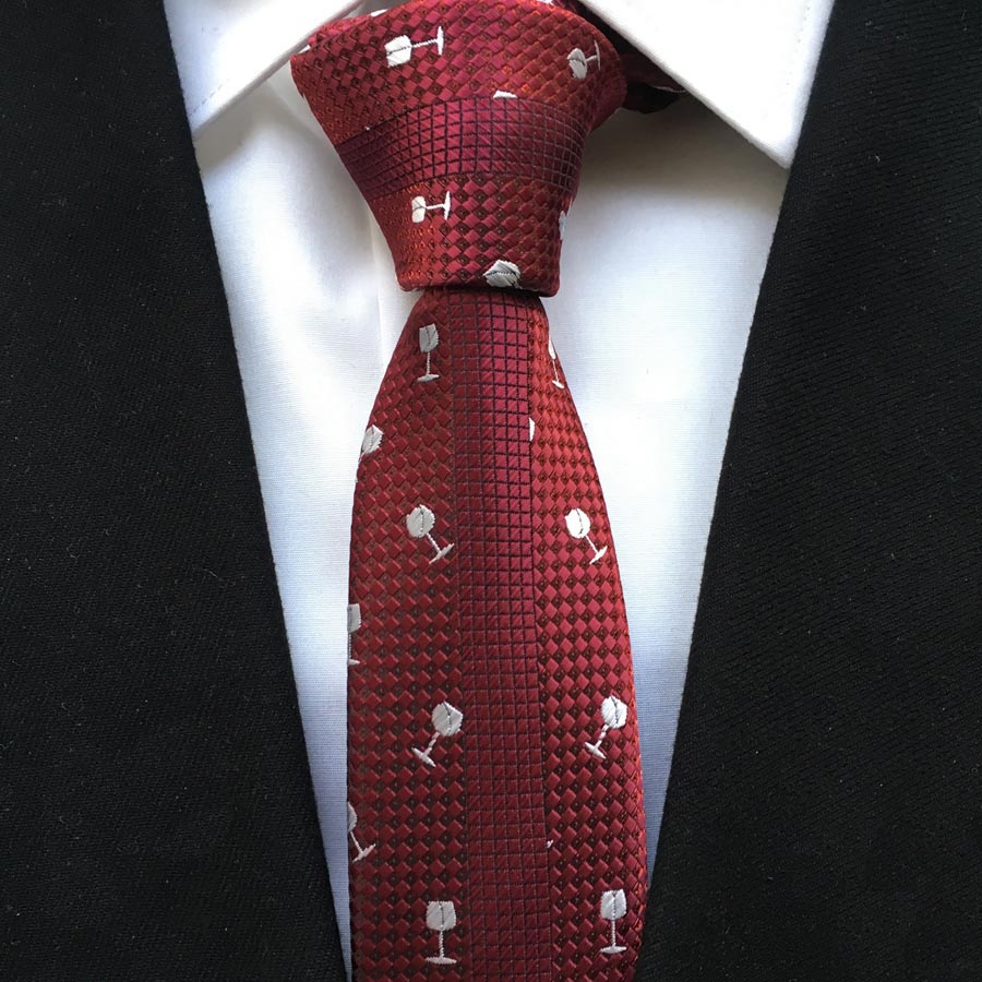 Fashion Men Casual Skinny Tie Unique Panel Necktie Burgundy Gravata with White Woven Embroidery Wine Glasses