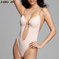 HEXIN Seamless U Plunge Backless Thong Bodysuit For Women Bottom Bridal Shapewear Invisible Under Dress Plunge Bra Body Suit
