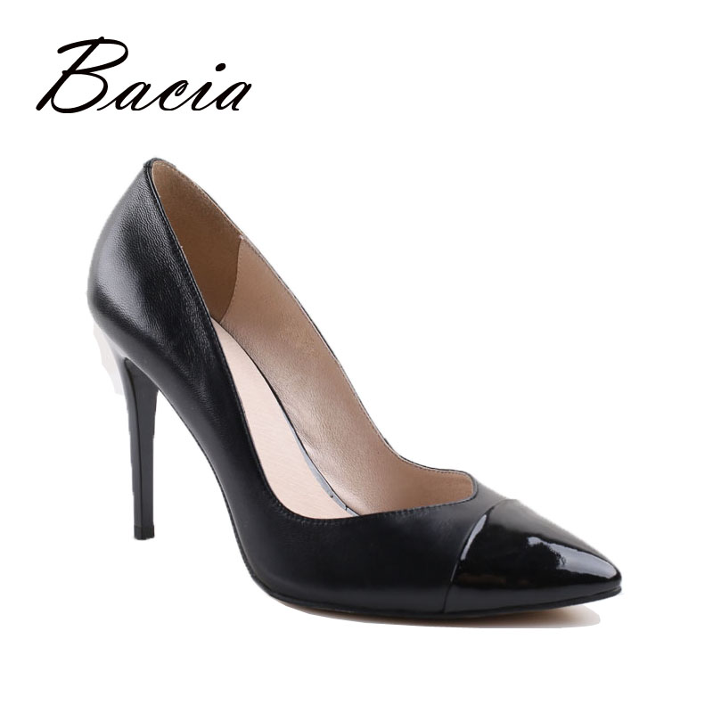 Bacia Leather pointe shoes Black womens shoes heels Sheepskin Pumps zapatos mujer tacon 9 5cm Heels