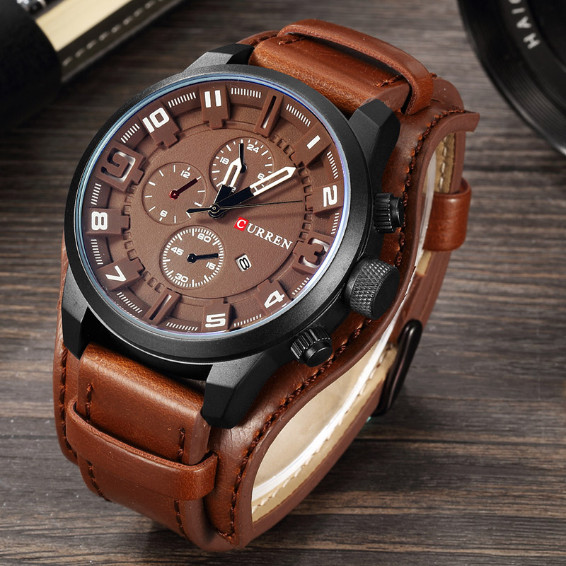 New Watches CURREN Luxury Brand Men Watch Leather Strap Fashion Quartz Watch Casual Sports Wristwatch Date