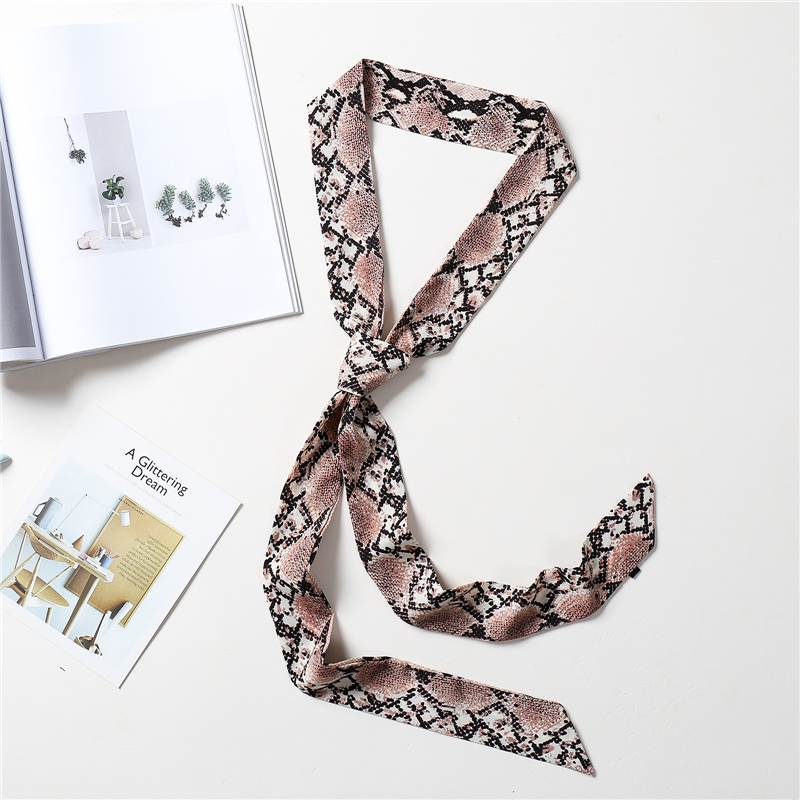 Luxury Snake Print Women Silk Scarf Narrow Skinny Neck Hair Band Lady Hand Bag Wraps Ribbon Scarves 2020 Fashion Cap Tie