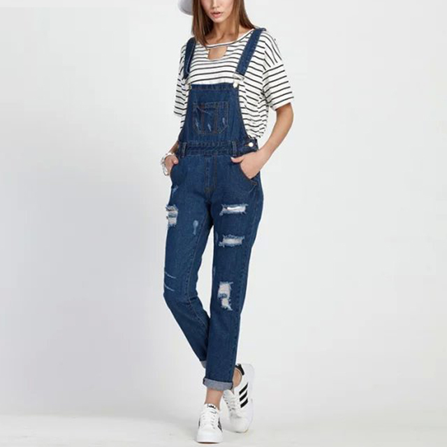 2016 new rivet holes strap halter women denim jumpsuit casual preppy ladies overalls LBGF0423-5250