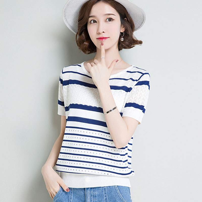 2019 Summer Women Tops Pullover Striped Short Sleeve Ladies Fashion Yellow Cool Pull Femme Hiver New Arrival Jumper Knitwear